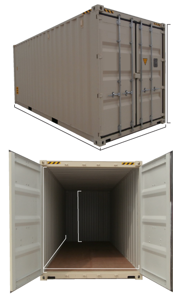 20ft 6m high cube HC container dimensions