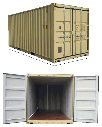 20ft 6m standard GP container dimensions